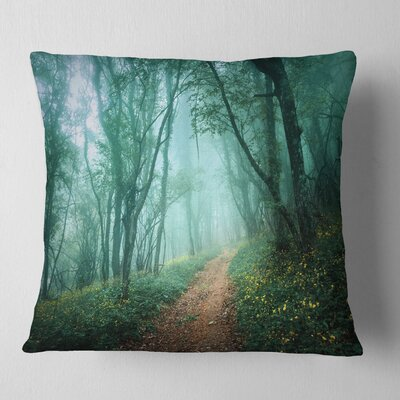 Light Green Mystical Fall Forest Landscape Photography Pillow Size: 16 x 16, Product Type: Throw Pillow