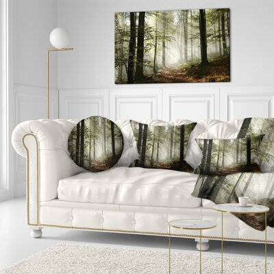 Light in Dense Fall Forest with Fog Landscape Printed Throw Pillow Size: 16 x 16