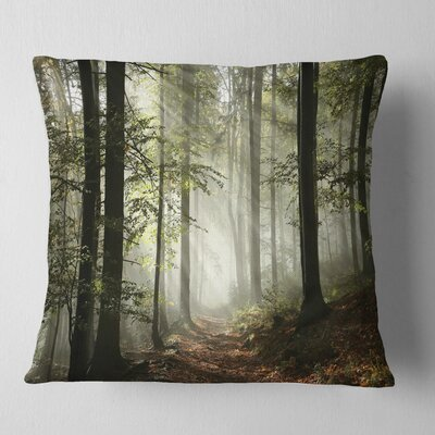 Light in Dense Fall Forest with Fog Landscape Printed Pillow Size: 18 x 18, Product Type: Throw Pillow