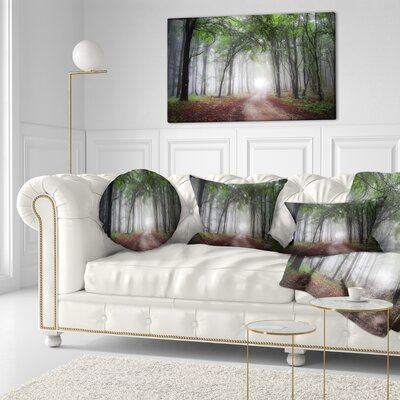 Light Through Green Fall Forest Landscape Photography Throw Pillow Size: 20 x 20
