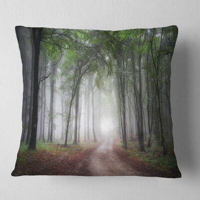 Light Through Green Fall Forest Landscape Photography Pillow Size: 16 x 16, Product Type: Throw Pillow