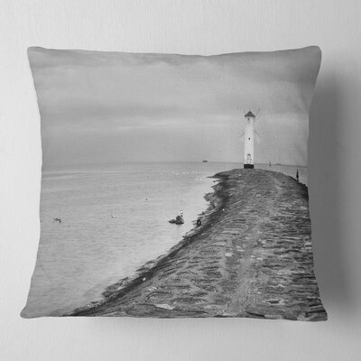 Lighthouse Windmill Stawa Mlyny in Seascape Pillow Size: 18 x 18, Product Type: Throw Pillow