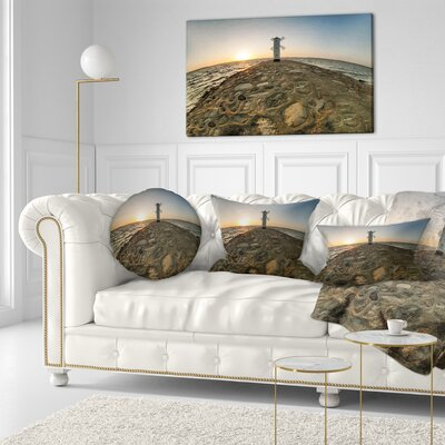 Lighthouse Windmill Stawa Mlyny Seascape Throw Pillow Size: 16 x 16