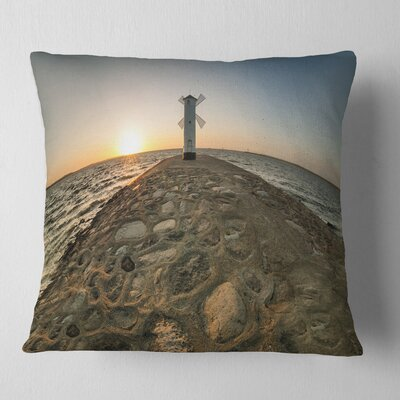 Lighthouse Windmill Stawa Mlyny Seascape Pillow Size: 18 x 18, Product Type: Throw Pillow