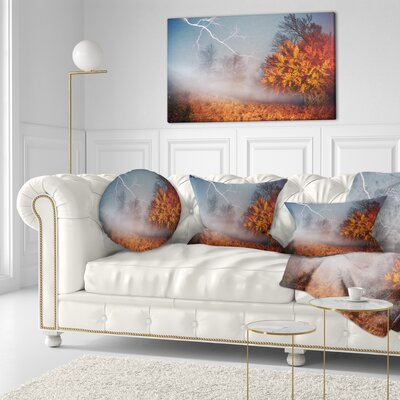 Lighting in Autumn Forest Landscape Photography Throw Pillow Size: 20 x 20