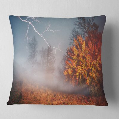 Lighting in Autumn Forest Landscape Photography Pillow Size: 16 x 16, Product Type: Throw Pillow