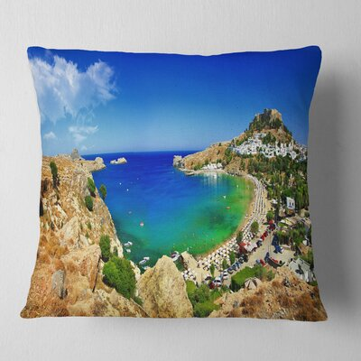 Lindos Bay Greece Panorama Landscape Photography Pillow Size: 16 x 16, Product Type: Throw Pillow