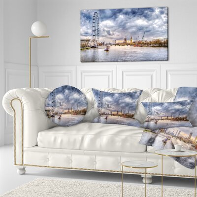 London Skyline and River Thames Cityscape Throw Pillow Size: 20 x 20