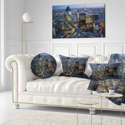 London Skyline at Sunset Cityscape Throw Pillow Size: 16 x 16