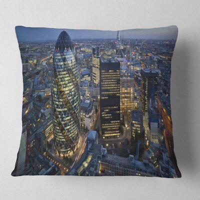 London Skyline at Sunset Cityscape Pillow Size: 26 x 26, Product Type: Euro Pillow