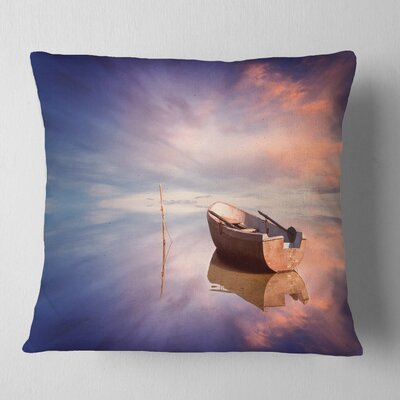 Lonely Boat in Sea Seascape Pillow Size: 16 x 16, Product Type: Throw Pillow