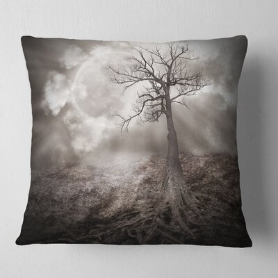 Lonely Tree Holding the Moon Landscape Printed Pillow Size: 26 x 26, Product Type: Euro Pillow