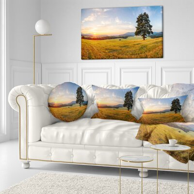 Lonely Tree on Meadow at Sunset Landscape Photography Throw Pillow Size: 20 x 20
