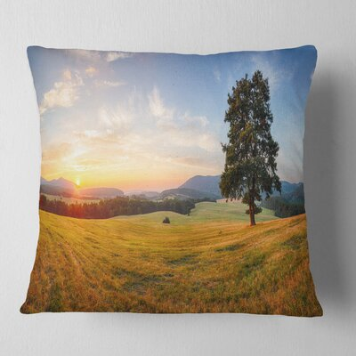 Lonely Tree on Meadow at Sunset Landscape Photography Pillow Size: 18 x 18, Product Type: Throw Pillow