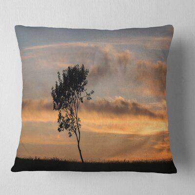 Lonely Tree Silhouette Leftwards Landscape Printed Pillow Size: 18 x 18, Product Type: Throw Pillow
