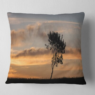 Lonely Tree Silhouette Rightwards Landscape Printed Pillow Size: 16 x 16, Product Type: Throw Pillow