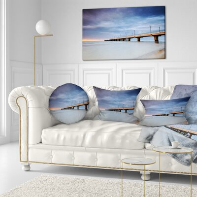Long Concrete Pier into Sea Bridge Throw Pillow Size: 16 x 16