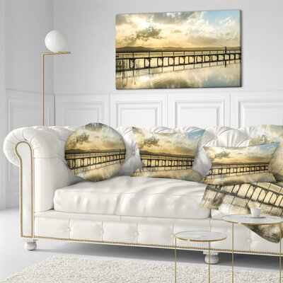 Long Jetty Foreshore Reserve Panorama Sea Bridge Throw Pillow Size: 16 x 16