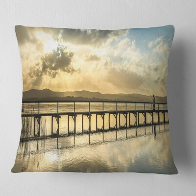 Long Jetty Foreshore Reserve Panorama Sea Bridge Pillow Size: 16 x 16, Product Type: Throw Pillow