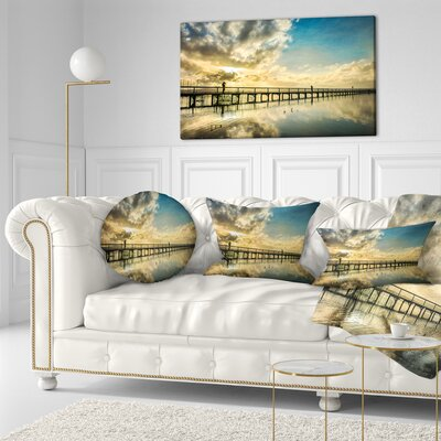Long Jetty Foreshore Reserve with Clouds Sea Bridge Throw Pillow Size: 16 x 16