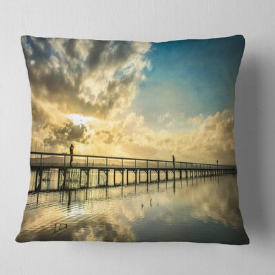 Long Jetty Foreshore Reserve with Clouds Sea Bridge Pillow Size: 16 x 16, Product Type: Throw Pillow