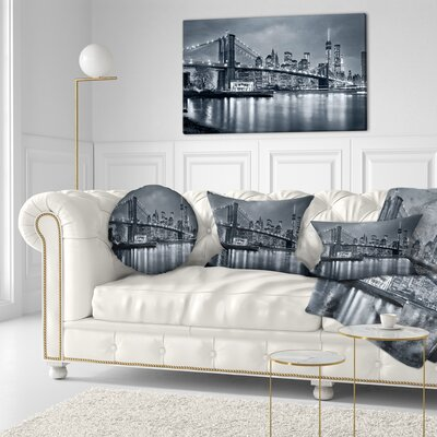 Panorama New York City at Night Cityscape Throw Pillow Size: 20 x 20