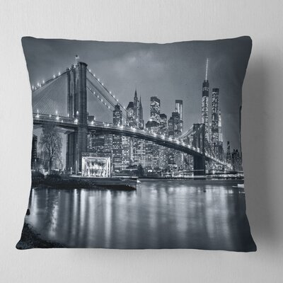 Panorama New York City at Night Cityscape Pillow Size: 18 x 18, Product Type: Throw Pillow