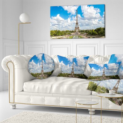 Panoramic Paris Paris Eiffel Towerunder Clouds Cityscape Throw Pillow Size: 20 x 20