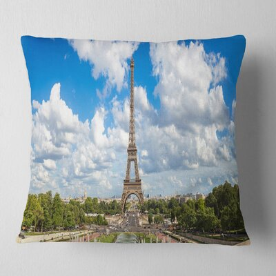 Panoramic Paris Paris Eiffel Towerunder Clouds Cityscape Pillow Size: 18 x 18, Product Type: Throw Pillow