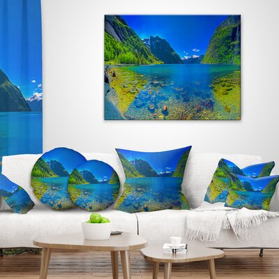 Panoramic View of Norwegian Fjord Landscape Printed Lumbar Pillow Size: 18 x 18, Product Type: Throw Pillow