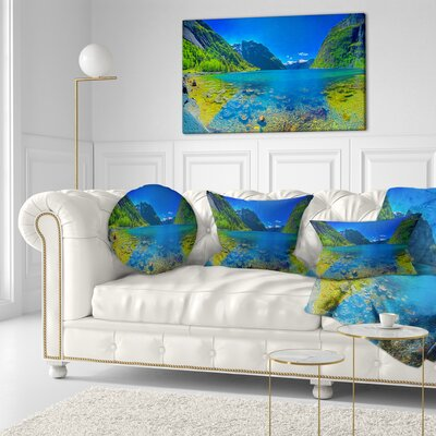 Panoramic View of Norwegian Fjord Landscape Printed Throw Pillow Size: 16 x 16