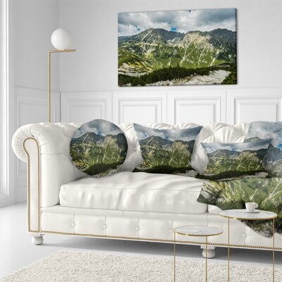 Panoramic Vista over Mountains Landscape Printed Throw Pillow Size: 16 x 16