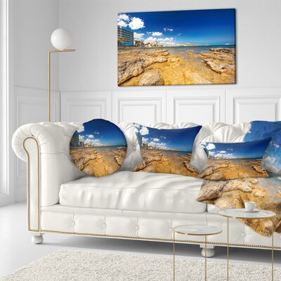 Paradise Beach in Ibiza Island Seashore Photo Throw Pillow Size: 16 x 16