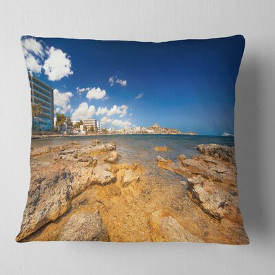 Paradise Beach in Ibiza Island Seashore Photo Pillow Size: 16 x 16, Product Type: Throw Pillow