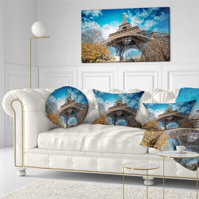Paris Paris Eiffel Towerand Paris Sky View Cityscape Throw Pillow Size: 20 x 20