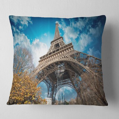 Paris Paris Eiffel Towerand Paris Sky View Cityscape Pillow Size: 26 x 26, Product Type: Euro Pillow