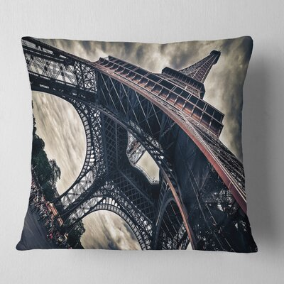Paris Paris Eiffel Towerin Grungy Dramatic Style Cityscape Pillow Size: 16 x 16, Product Type: Throw Pillow