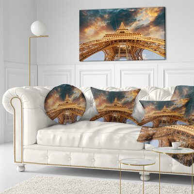 Paris Paris Eiffel Towerin Paris with Sunset Cityscape Throw Pillow Size: 16 x 16