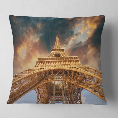 Paris Paris Eiffel Towerin Paris with Sunset Cityscape Pillow Size: 18 x 18, Product Type: Throw Pillow