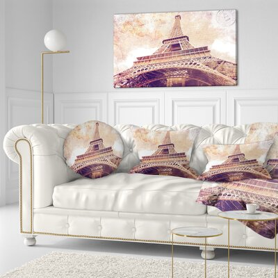 Paris Paris Eiffel TowerParis Postcard Design Cityscape Throw Pillow Size: 16 x 16