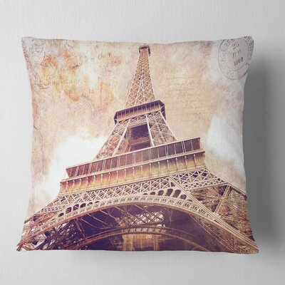 Paris Paris Eiffel Tower Paris Postcard Design Cityscape Pillow Size: 26 x 26, Product Type: Euro Pillow