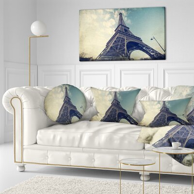 Paris Paris Eiffel TowerVintage View from Ground Cityscape Throw Pillow Size: 16 x 16