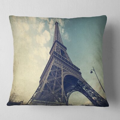Paris Paris Eiffel Tower Vintage View from Ground Cityscape Pillow Size: 18 x 18, Product Type: Throw Pillow
