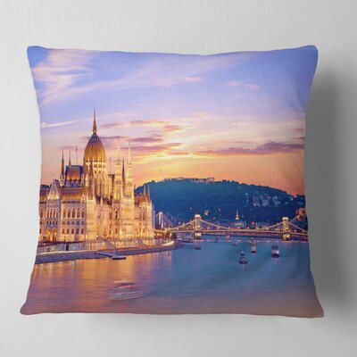 Parliament and Bridge over Danube Cityscape Pillow Size: 16 x 16, Product Type: Throw Pillow