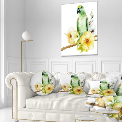 Parrot with Flowers Floral Painting Throw Pillow Size: 20 x 20