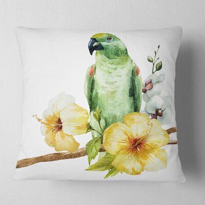 Parrot with Flowers Floral Painting Pillow Size: 16 x 16, Product Type: Throw Pillow