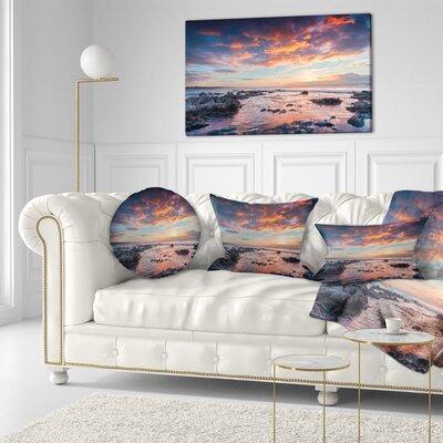 Passero Cape Spring Sunrise Seashore Photo Throw Pillow Size: 20 x 20