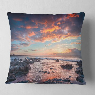 Passero Cape Spring Sunrise Seashore Photo Pillow Size: 18 x 18, Product Type: Throw Pillow
