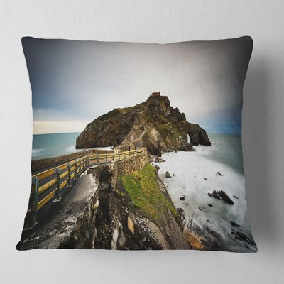 Path to Cape and Chapel in Spain Seashore Photo Pillow Size: 16 x 16, Product Type: Throw Pillow