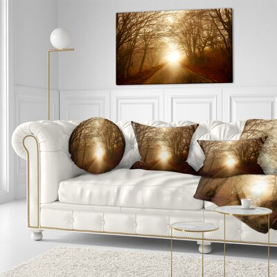 Path to Sunlight in Autumn Forest Landscape Photography Throw Pillow Size: 16 x 16
